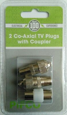 2 x Co-axial TV Plugs Male with Coupler TV Aerial Socket Connector by Pifco COAX