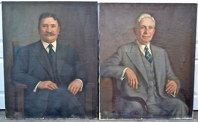 Pair Vintage Jacob Binder Oil Painting Family Portraits 1943 & 1944 Boston Area