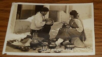 1945 Real Photo Tonita/Juan San Ildefonzo Indian Pottery Makers Postcard~N.M.