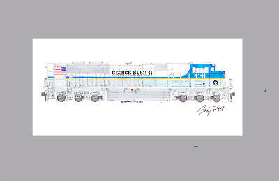 """Union Pacific George Bush 4141 SD70ACe 11""""x17"""" Matted Print Andy Fletcher signed"""