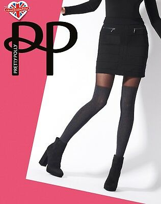 Pretty Polly Marl Over the Knee Cable Sock Tights Black 1 Pair One Size