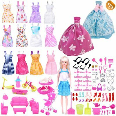 Barbie Doll Clothes Accessories Huge Lot Party Gown Outfits Girl Gift Set 123Pcs
