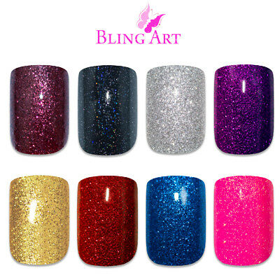 Bling Art False Nails Black Red Blue Pink Maroon Purple Gold Gel Fake Medium Tip