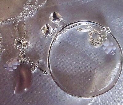 """lilac Moonstone/patternd BANGLE +TEDDY/CROSS/925 Stamped 18""""Chain in A Box"""