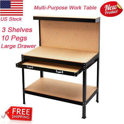 Work Bench Table Heavy Duty Steel Home Workshop Tool Table Storage w/3 Shelves