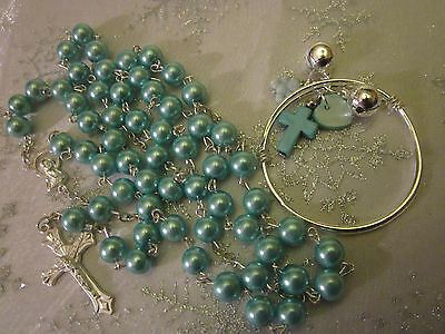 BABY BANGLE&CHARMS+BLUE Pearl ROSARY/in A Box