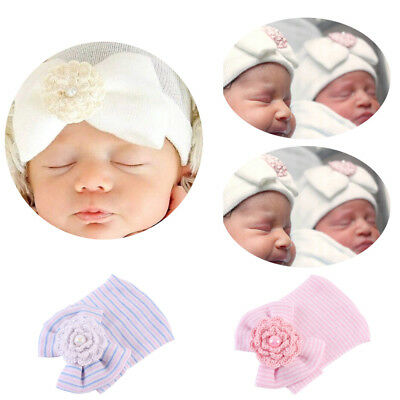 Newborn Baby Infant Girl Toddler Soft Bowknot Hospital Cap Beanie Hat Comfy Gift