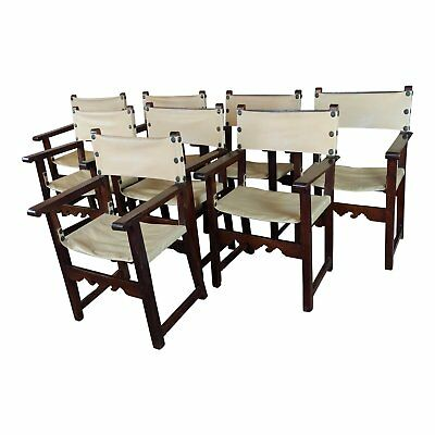19th century Spanish Revival Oak Dinning Chair -Set of 8