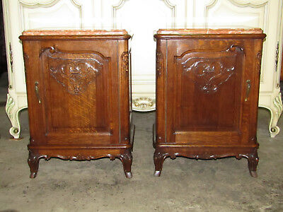 Pair antique French country carved oak bedside cabinets tables,amber marble tops