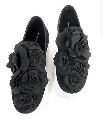 e86b7cc4a6a Zara Sneakers Sz 9 Black Slip On Style With Floral Detailing Athleisure  Womens
