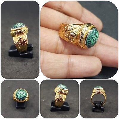 Gold gilded old ring with beautiful Islamic writing turquoise stone #AA