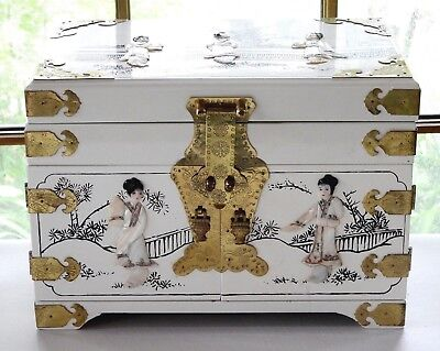 Vintage Estate Japanese Jewelry Box Large Chest Mother of Pearl Brass White Big