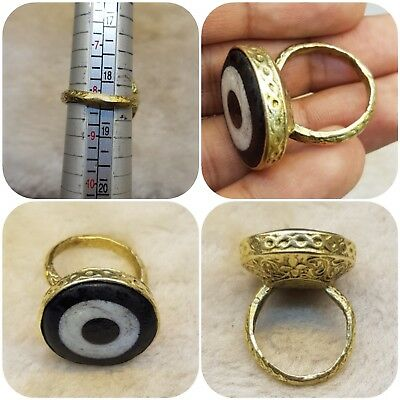 A wonderful and unique gold gilded old ring with Eye Gabree Lovely # AE2