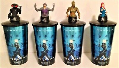 DC Comics: Aquaman 2018 Movie Theater Exclusive Cup Toppers Set With 44 oz Cups