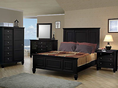 fd24a3e9626172 NEW Traditional Design Black Finish 5 piece Bedroom Set w/ King Mansion Bed  IA75
