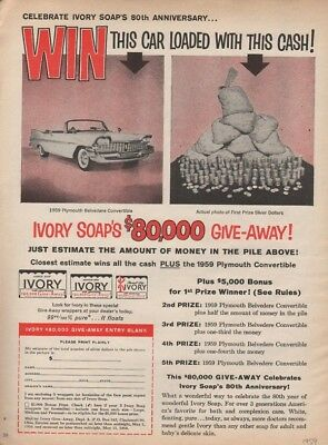 1959 Ivory Soap Plymouth Belvedere Car Auto Money Cash Give Away Prize 18679