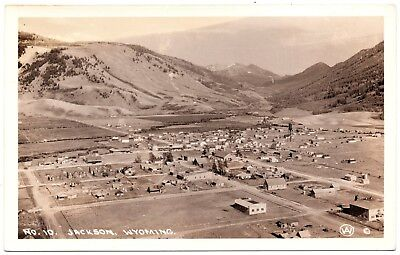real photo Jackson Wyoming WY - town view 1930s postcard RPPC