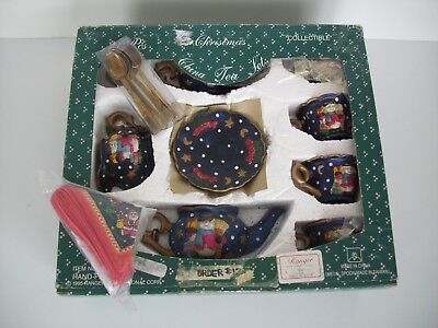 Vintage 1995 Ranger Intl. 33 Piece Hand Painted Christmas China Tea Set