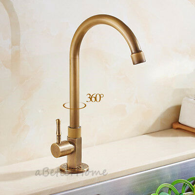 Retro Antique Kitchen Sink Faucet Swivel Spout Single Handle Cold Water Tap