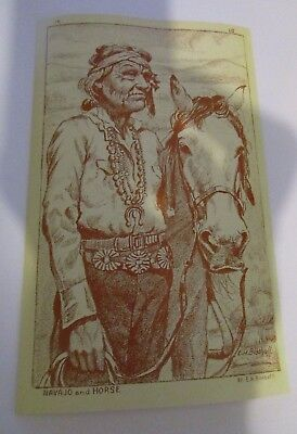 Navajo Horse Drawing Postcard Reproduction Taiwan Native American Bischoff VTG