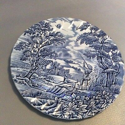 "Myott The Hunter Blue & White Plate 8 3/4""  Hand Engraved"
