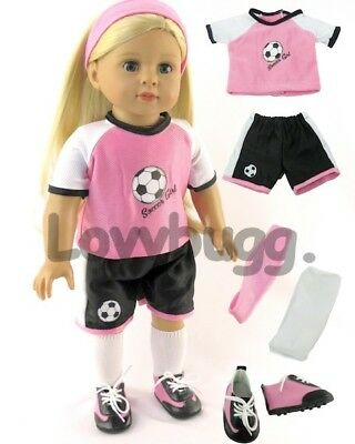 "Pink Soccer Uniform w Shoes for American Girl 18"" Doll Clothes Sports  Lovvbugg!"