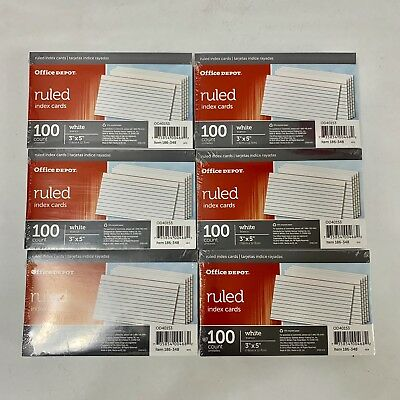 """NIP Office Depot Brand Ruled Index Cards, 3"""" x 5"""" White Lot of 6 600 Count Total"""