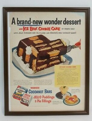 Vintage 1953 Nabisco Jell-O Ice Box Cookie Cake Recipe Framed Print Ad