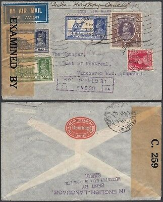 India 1941 - Airmail cover to Vancouver B.C.-Canada . Censored. (DD) MV-1416