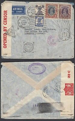 India 1941 - Airmail cover to Limassol-Cyprus.Censored. (DD) MV-1418