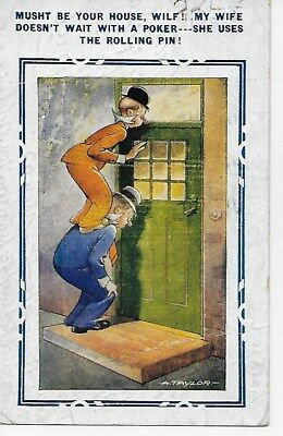 Bamforth  Comic 4573 Musht be you house Wilf my wife doesn't wait with a poker