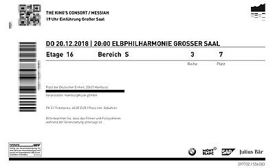2 Tickets Elbphilharmonie Der Messias