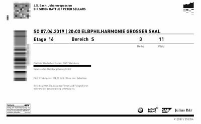 2 Tickets Elbphilharmonie Johannespassion