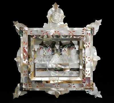 """Hand Carved Mother of Pearl Last Supper Abalone Shadow Box Diorama 8""""x7""""x1.25"""""""