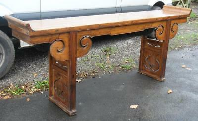 Old 19Th Century Chinese Oriental Elm Altar Table Console Hall Table Sideboard