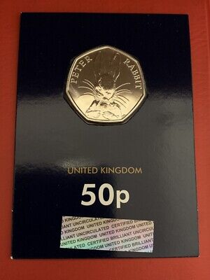 2016 Peter Rabbit  50p fifty pence Coin BU Sealed in It Official Coin Card