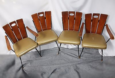 Set of 4 Vintage Mid-Century Modern Oak Slat Back Chairs with Upholstered Seats