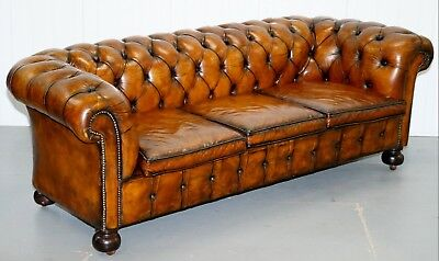 Very Rare Edwardian Fully Restored Hand Dyed Brown Leather Chesterfield Sofa