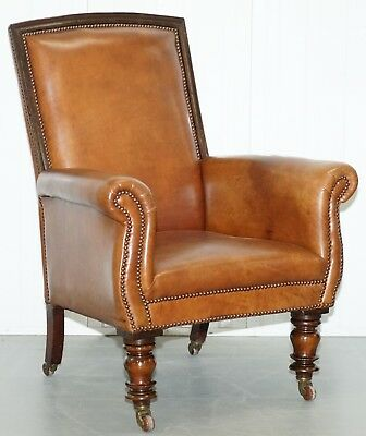 Stunning Large Victorian Library Reading Armchair Aged Brown Leather Mahogany