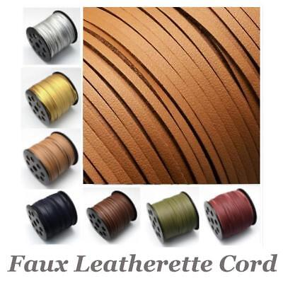 Faux Leather Leatherette Flat Cord Thong Necklace Bracelet Choose Colour Length