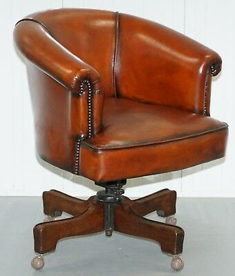 Very Early Rare Victorian Captains Chair Fully Restored Hand Dyed Brown Leather