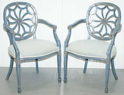 Pair Of Stunning George Hepplewhite Spider Web Back Occasional Chairs Armchairs