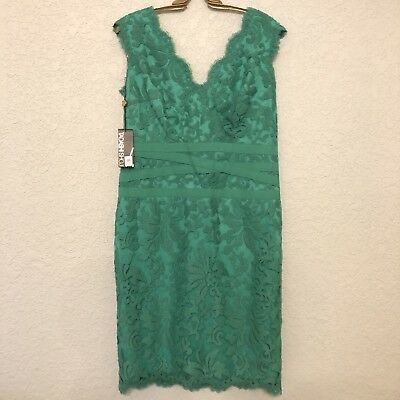 Tadashi Shoji NWT 14 Jade Green Embroidered Lace Sheath Dress Surplice Scallop