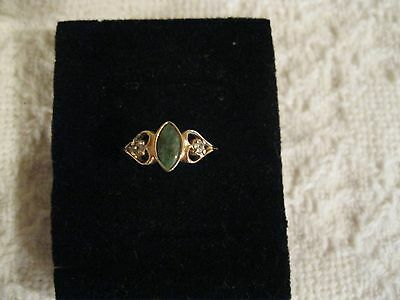 Avon 18K Marquise Cut Green Stone Ring - Size 7