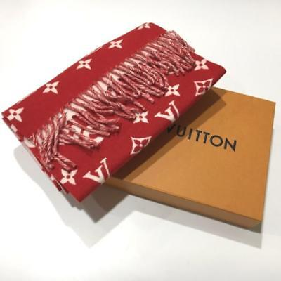 89008c68915 Supreme Louis Vuitton Red Scarf Monogram LV shawl with Box NEW