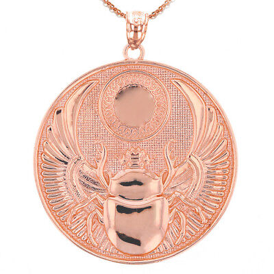 Solid 14k Rose Gold Ancient Egyptian Scarab Beetle Pendant Necklace