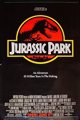 JURASSIC PARK - 1993 ORIGINAL AUTHENTIC MOVIE POSTER 41x27 ROLLED DOUBLE SIDED