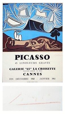 Antique SIGNED Poster PABLO PICASSO '45 Linoleums Graves', Red Pencil Signed