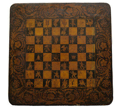 English Regency Penwork Chess Board c1820 - decorated top, east and west figures