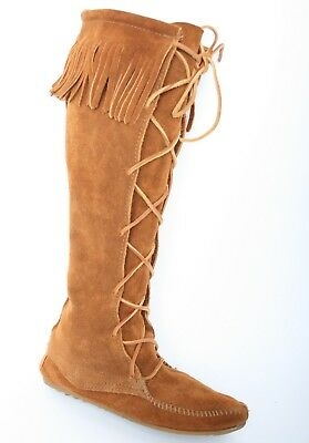 "MINNETONKA MOCCASIN Brown Suede Fringe Lace 17"" Tall Boots Women's Sz. 6"